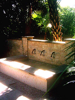 After lanscaping architect project design installation pool arbors fountain in Austin and San Francisco